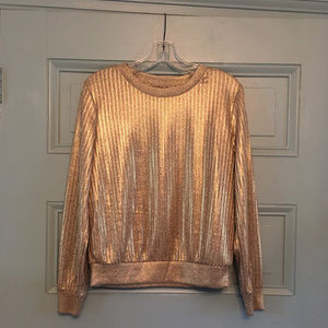 Who What Wear Gold Metallic sweater shirt